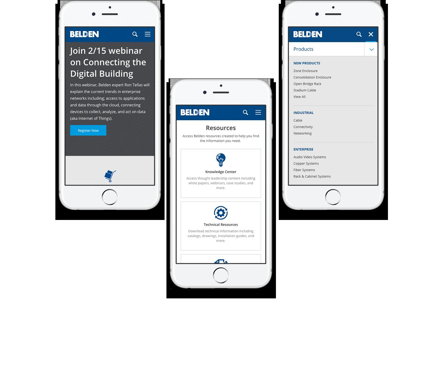 Belden's mobile responsive design
