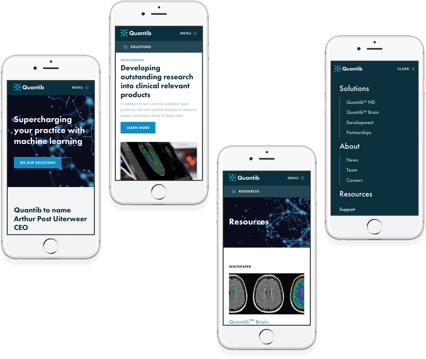 Quantib's responsive website design on four mobile phones