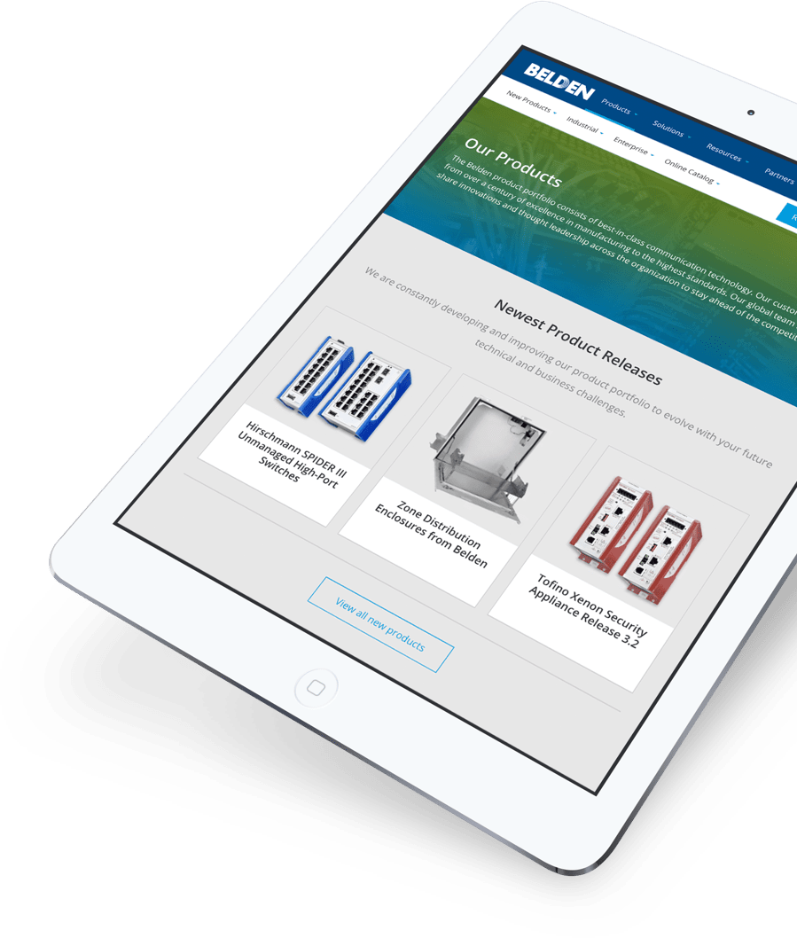 Screenshot of Belde's product page on tablet