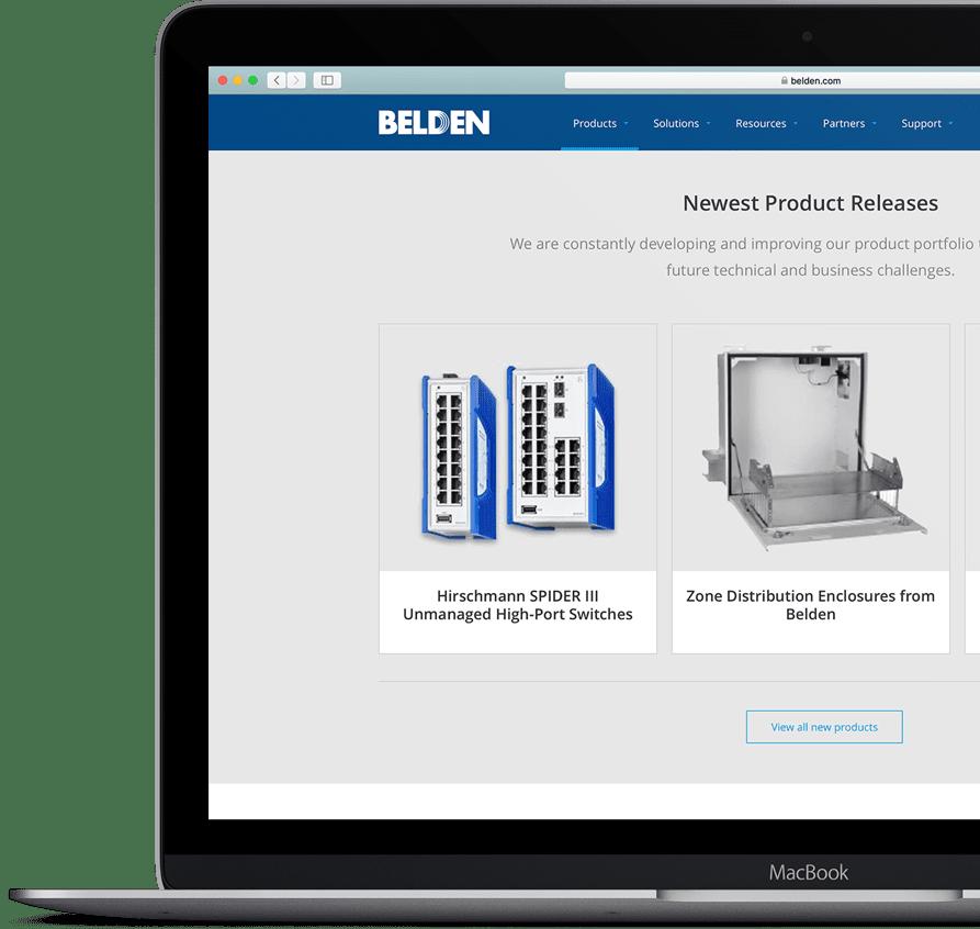 Screenshot of Belden's website home page on a laptop