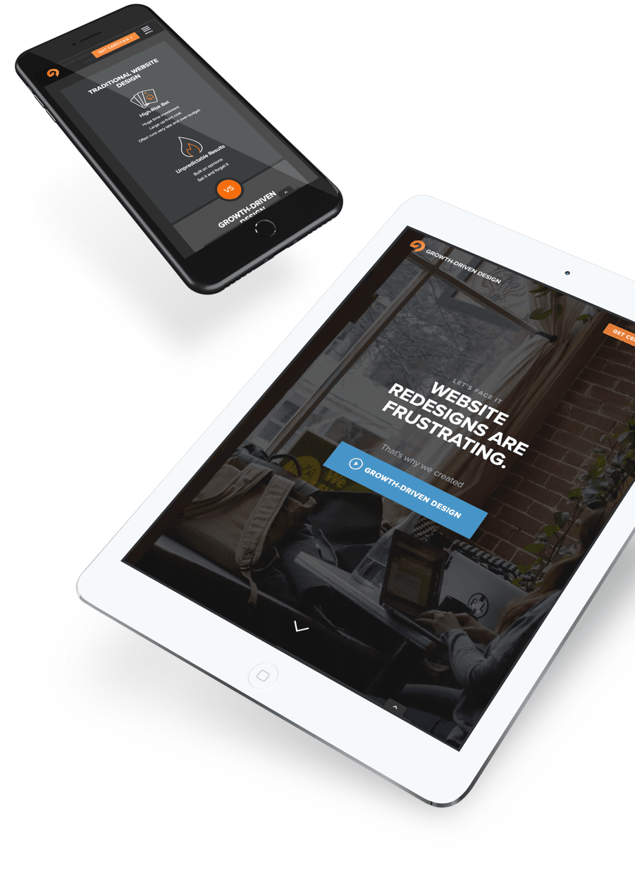 Growth-Driven Design website home page shown on a mobile phone and tablet