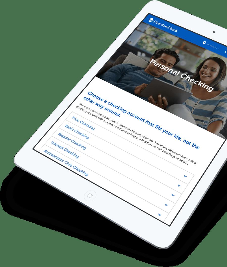 Heartland Bank website on a tablet