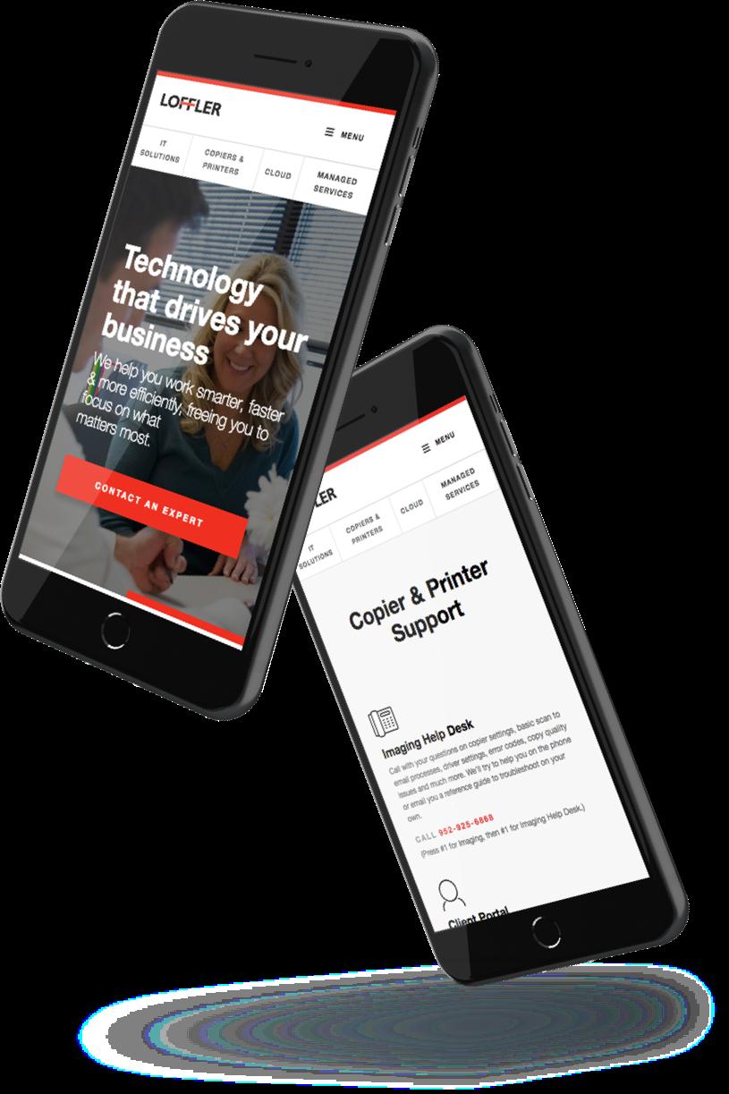 Loffler's website on a mobile phone
