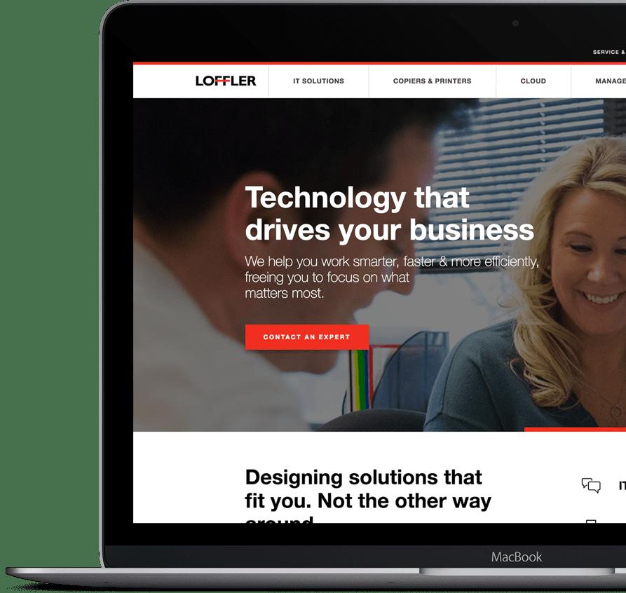 Loffler website on a laptop