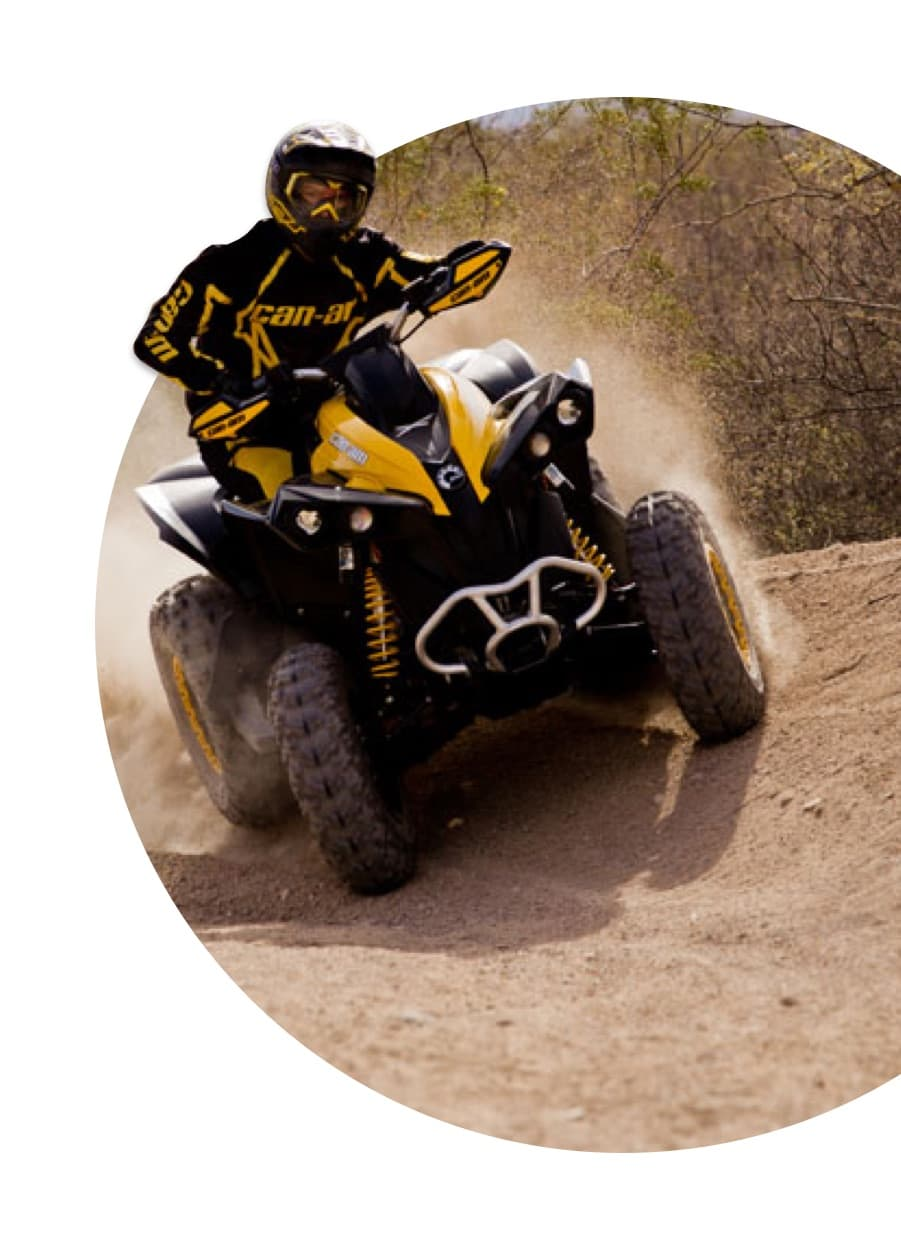 ATV skidding off road