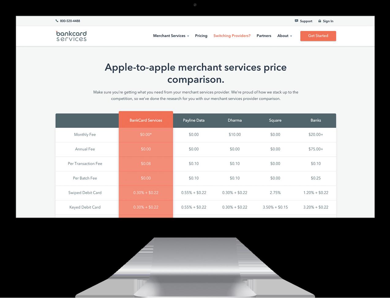 Bankcard custom comparison table design