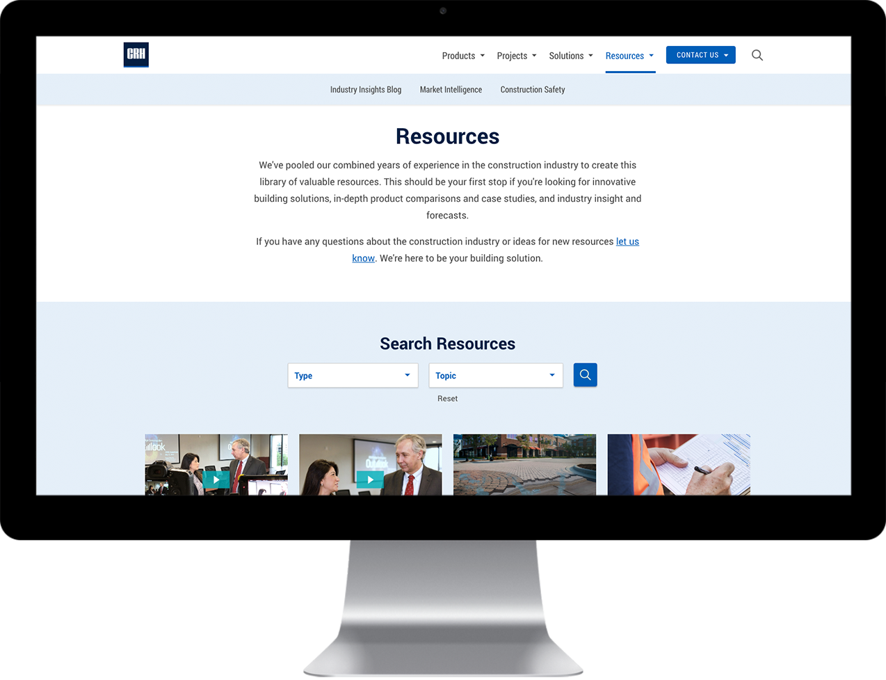 CRH Building Solutions  custom designed resource center on a desktop monitor