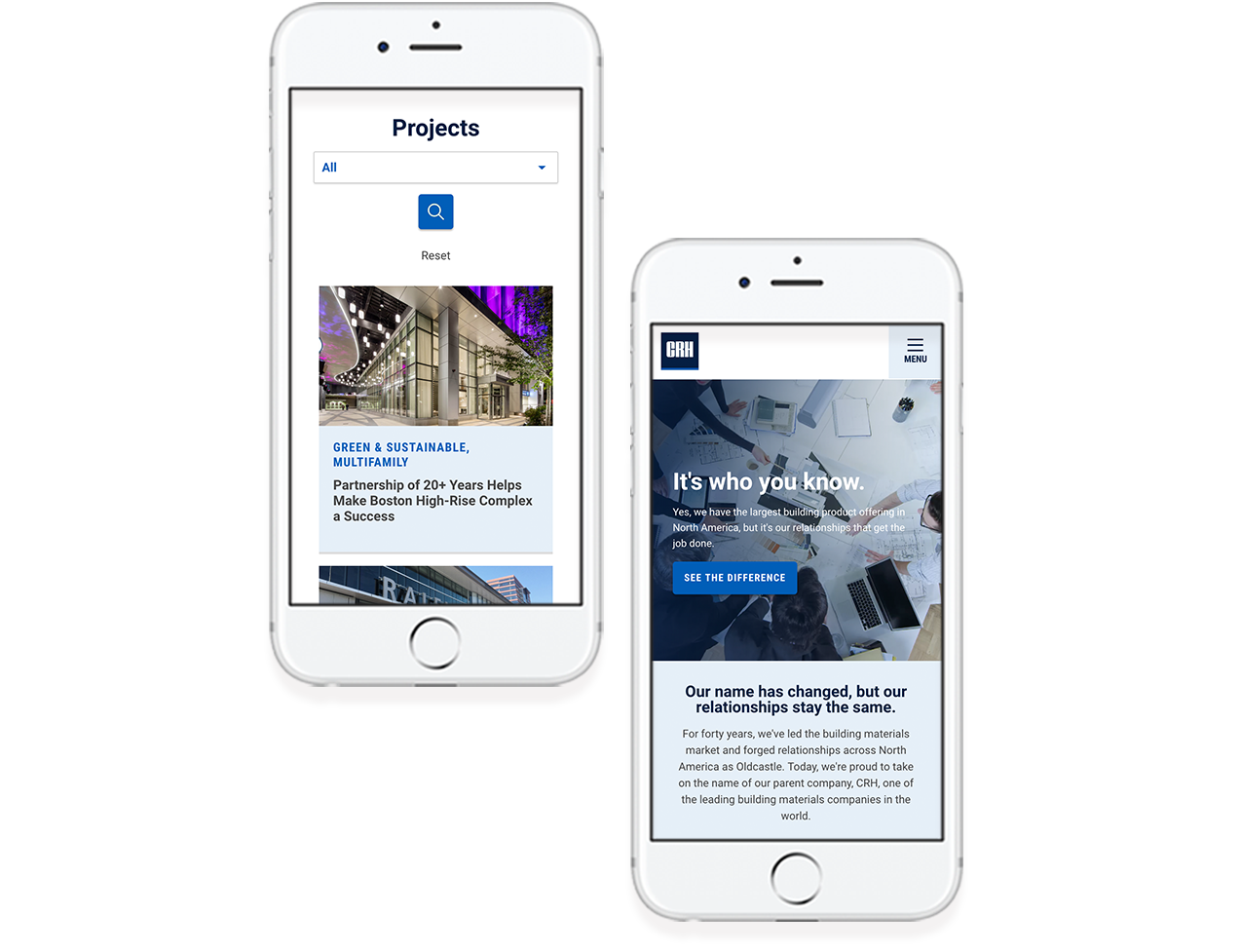 CRH Building Solutions responsive design example on two mobile phones