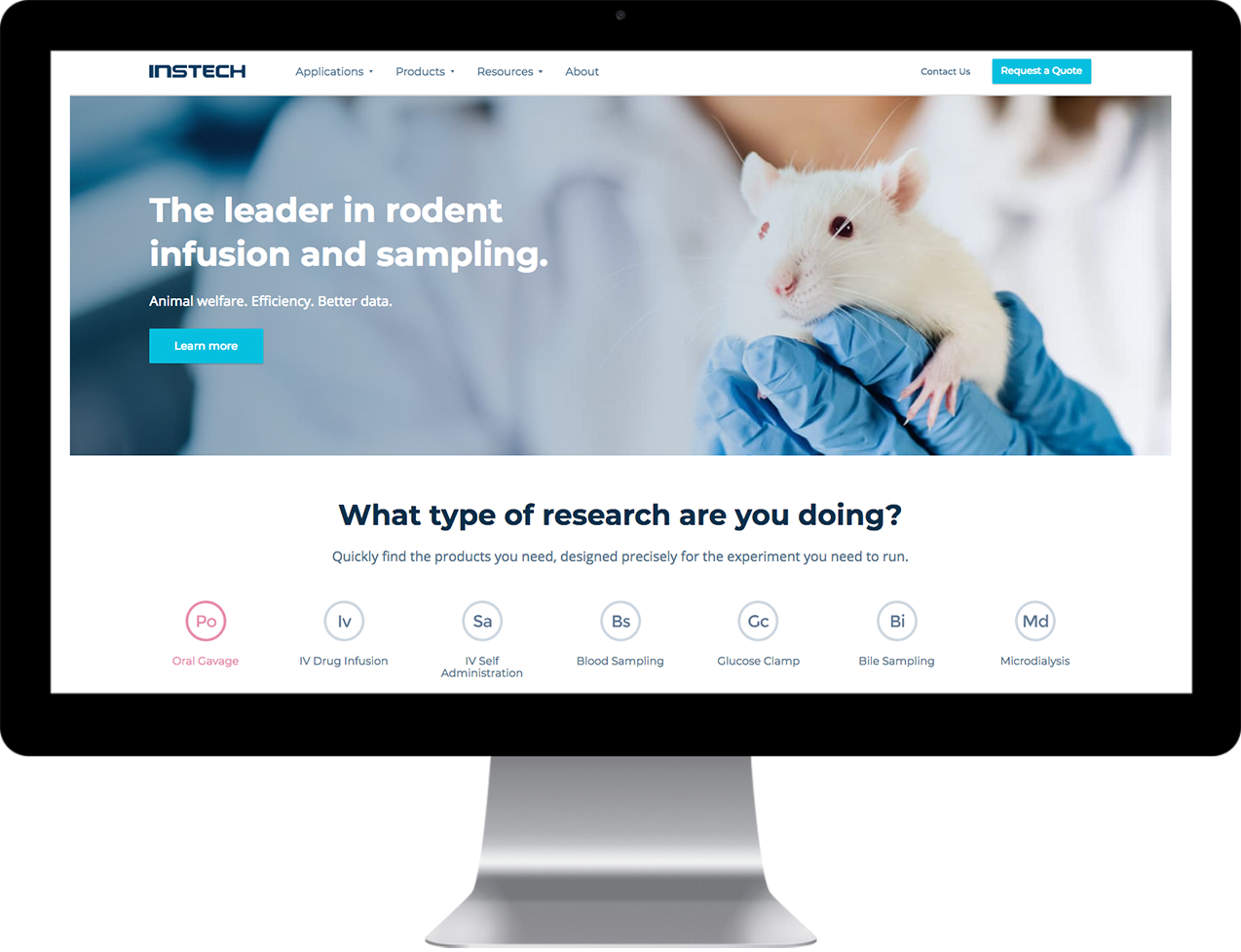 Instech Labs Custom home page design