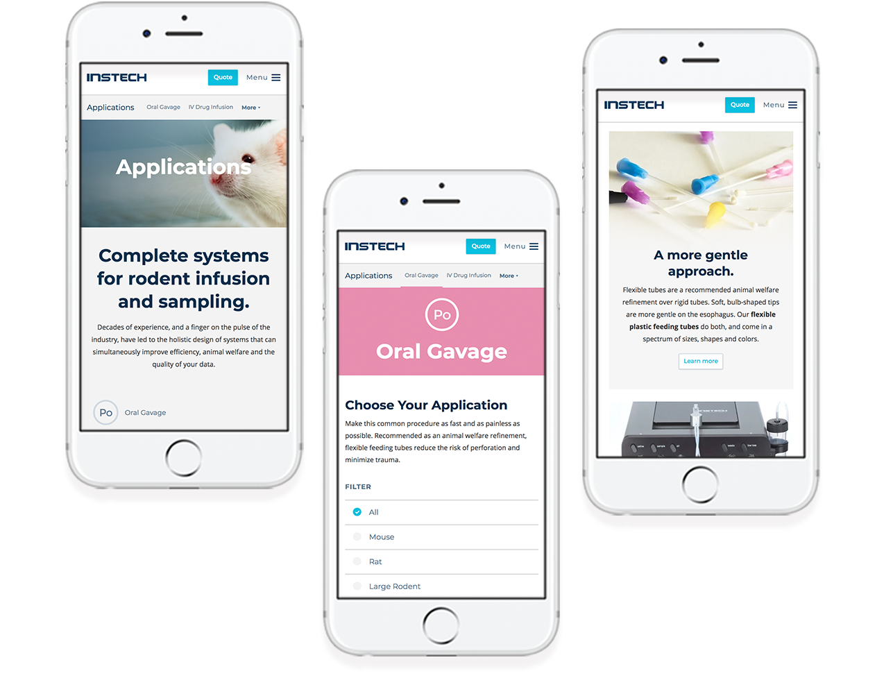 Instech's mobile responsive design examples