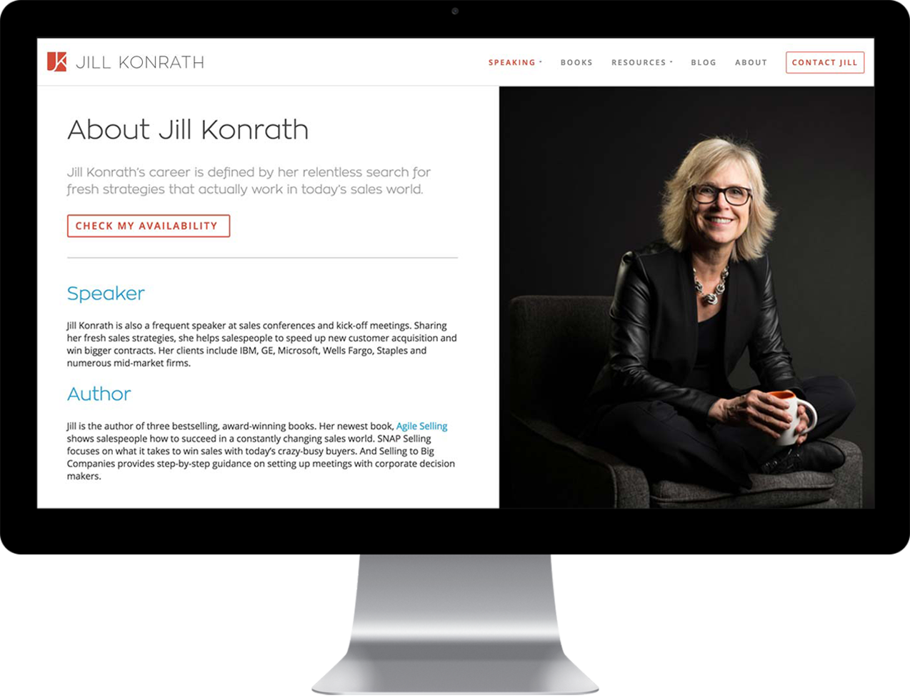 Jill Konrath custom about page design example on a desktop monitor