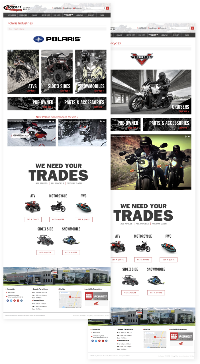 Examples of custom brand website pages from tousleymotorsports.com
