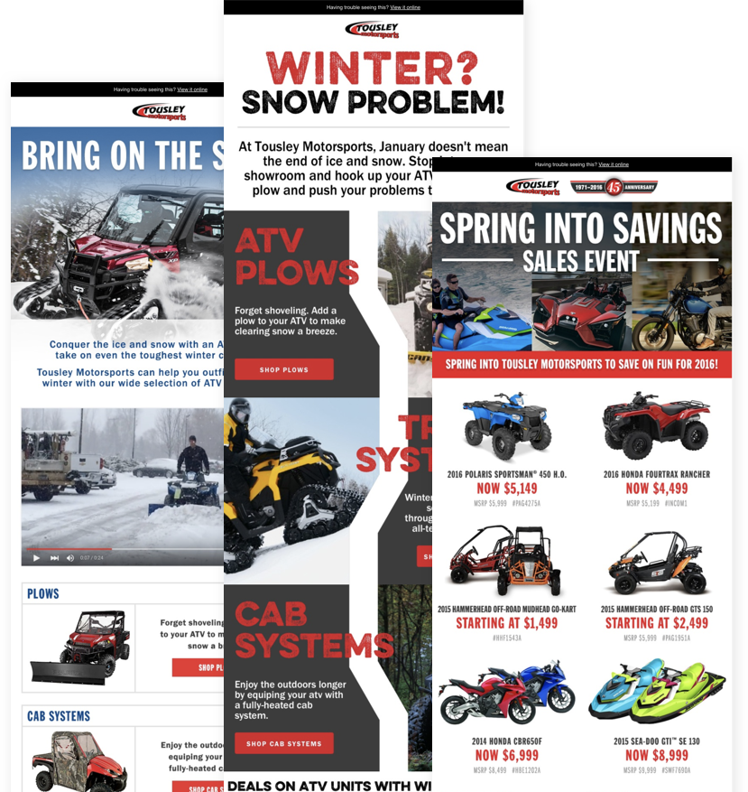 Examples of Tousley Motorsports marketing e-mails