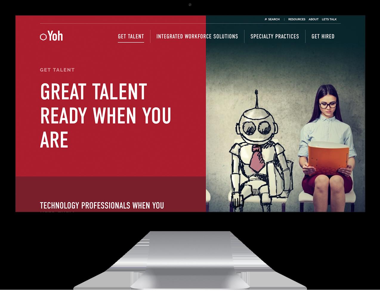 Yoh Custom website design example on desktop monitor