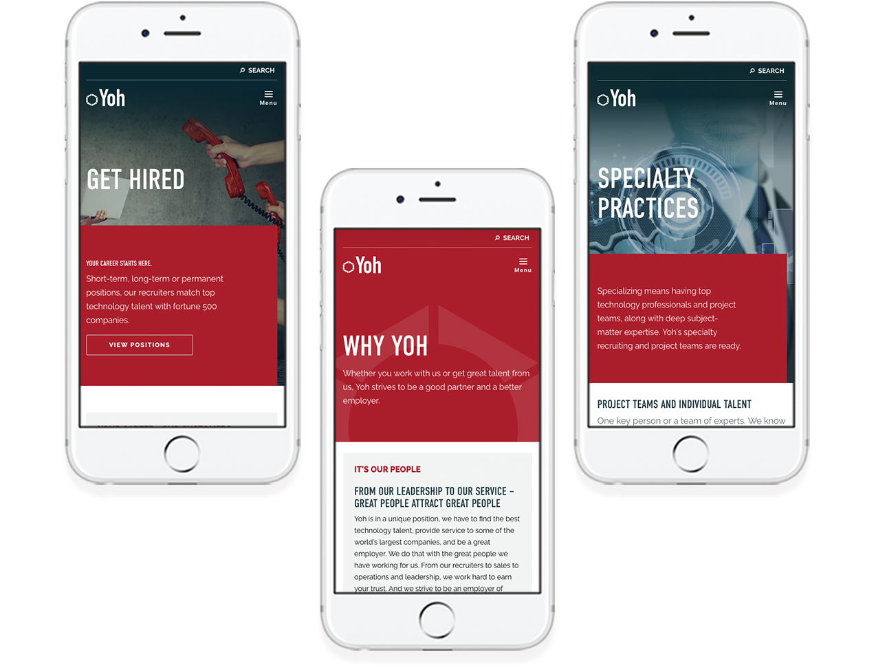 Yoh mobile responsive website design examples on three phones