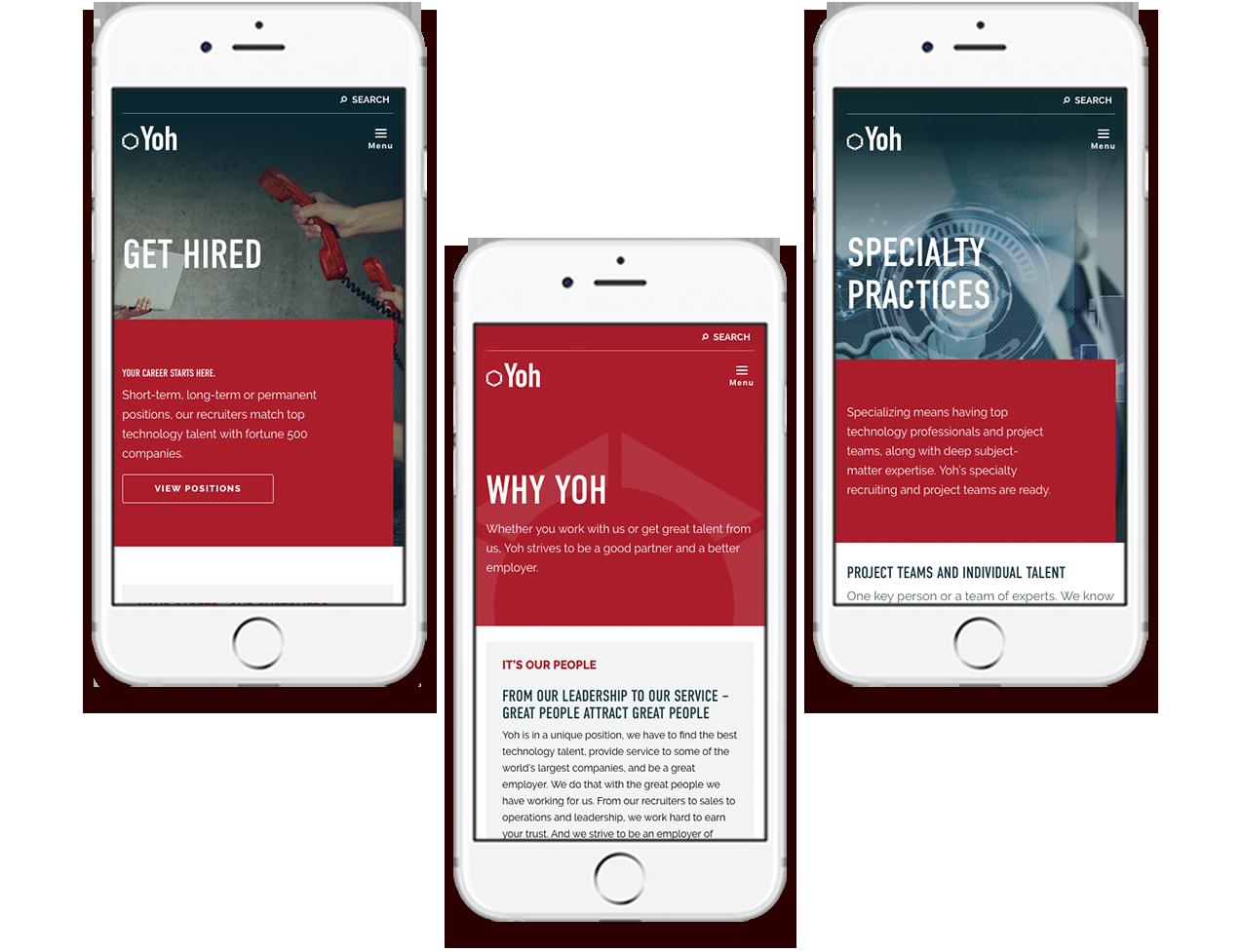 Yoh mobile responsive website design examples on three phones
