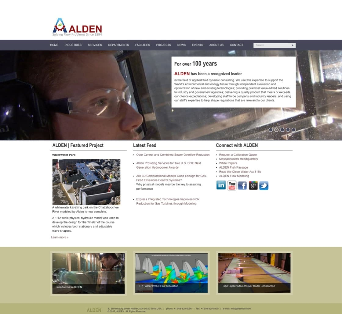 Alden Labs home page before website redesign