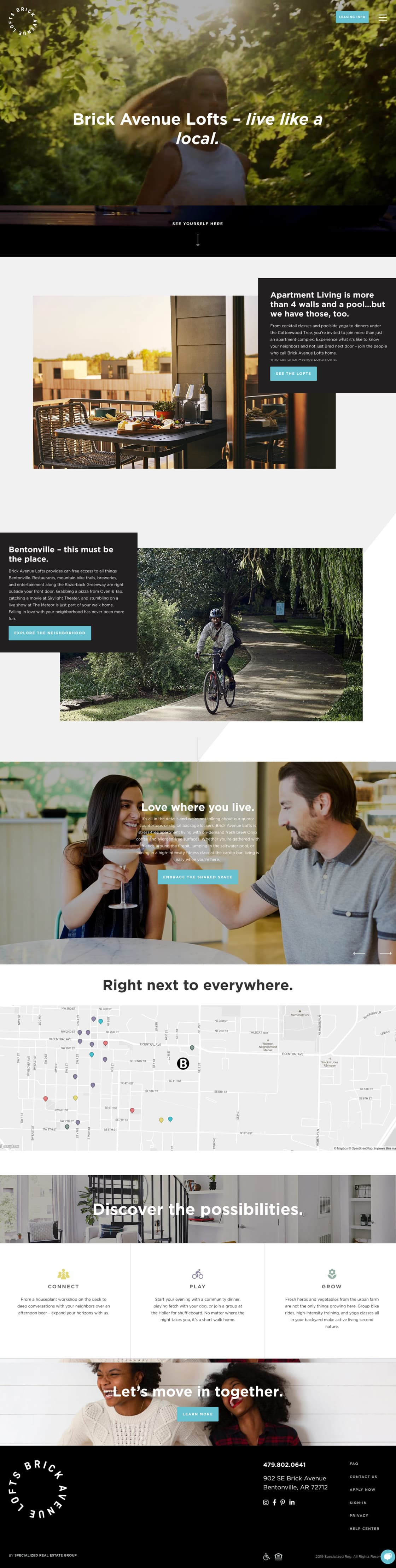 Brick Ave Lofts custom wordpress home page design