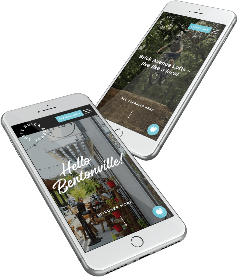Brick Ave Lofts responsive website design on two phones