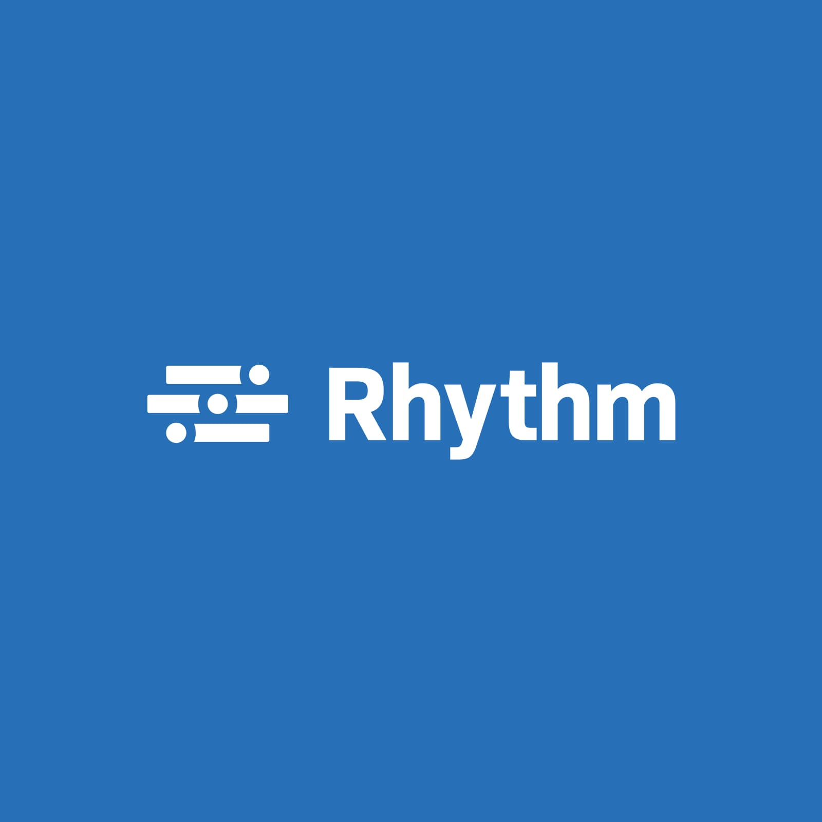 White Rhythm logo on blue