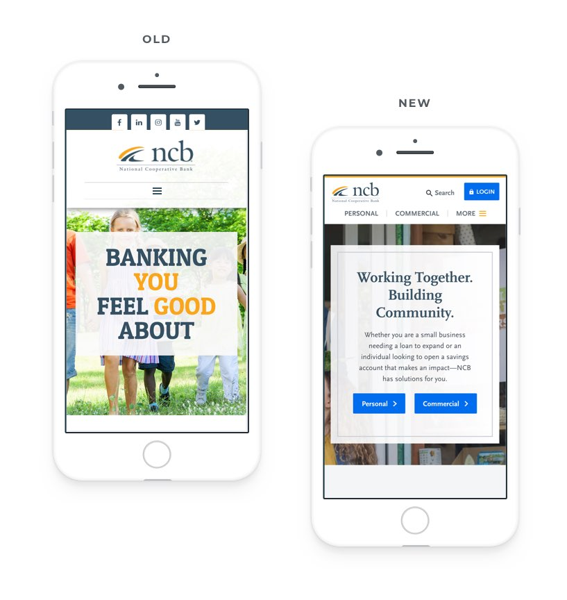 Mobile views of NCB's website before and after their website redesign