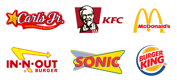 Examples of fast food logos using red and yellow branding.