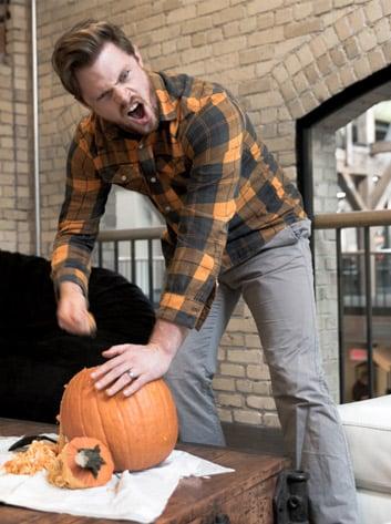 daniel going ham on his pumpkin
