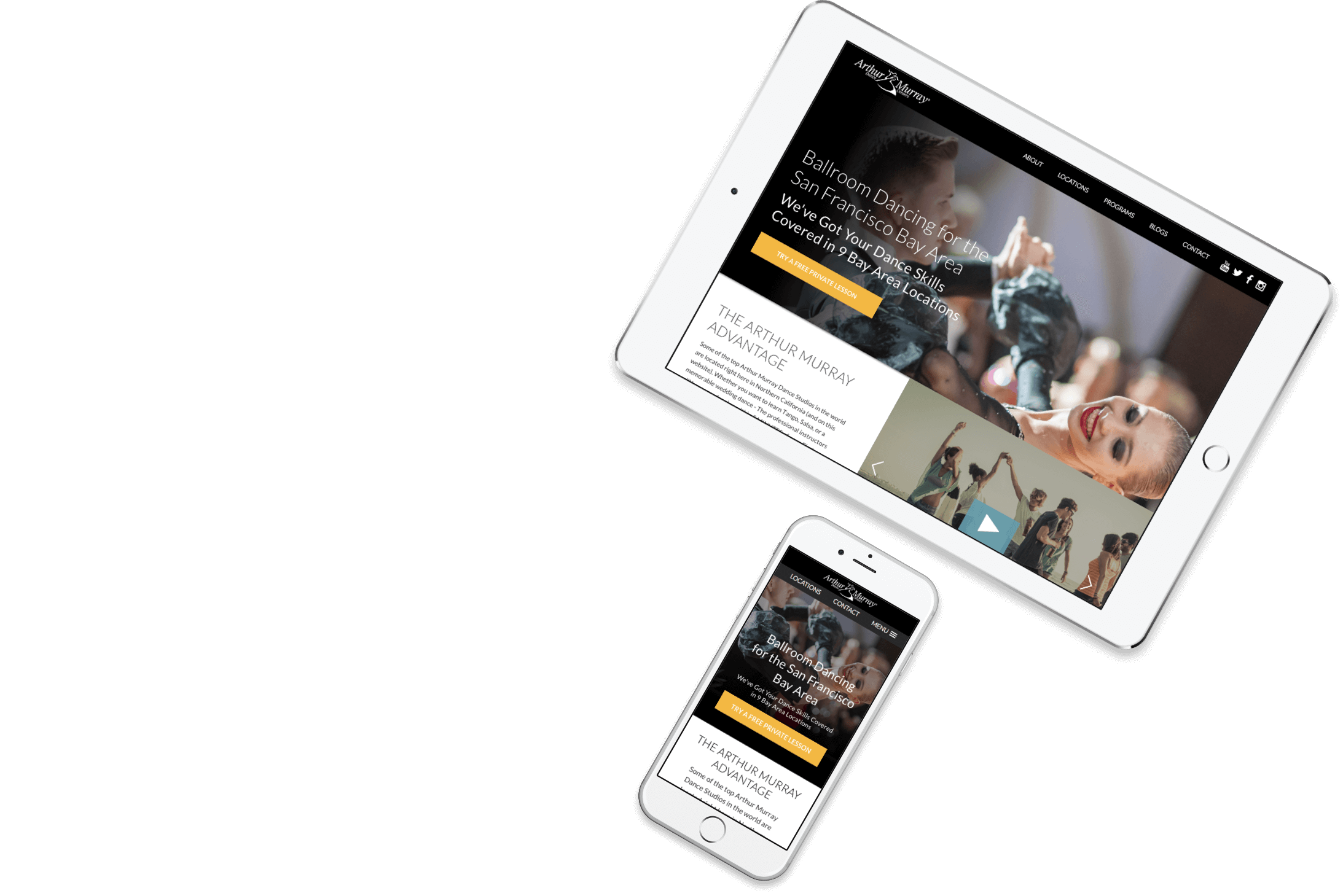 Example of what Arthur Murray Studios website looks like on a tablet and smart phone.