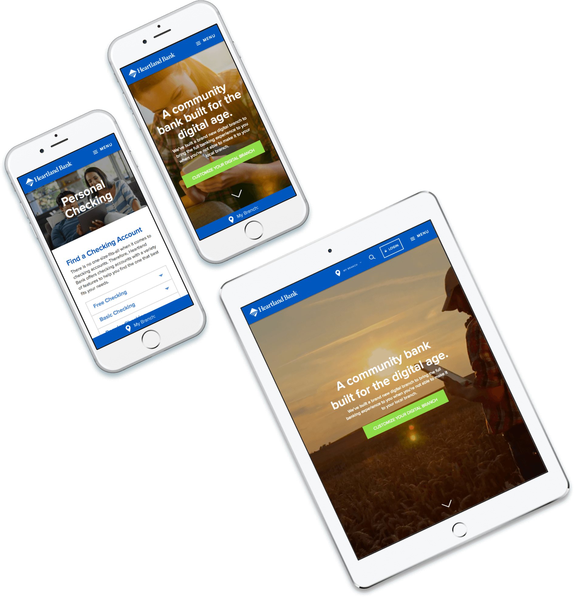 Heartland Bank website on two phones and a tablet
