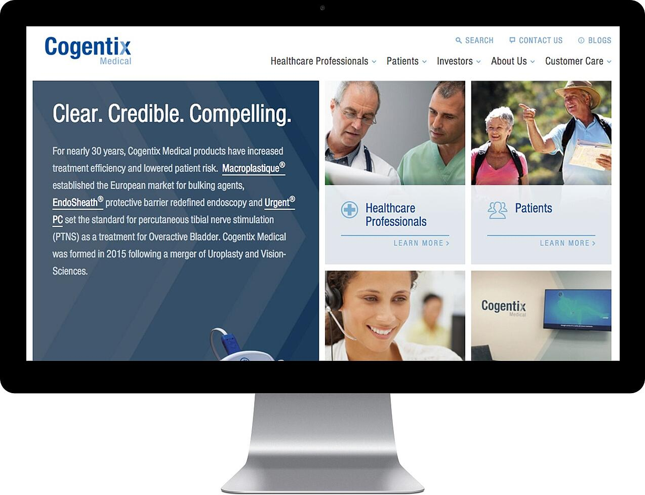 Screenshot of the Cogentix home page on a desktop computer