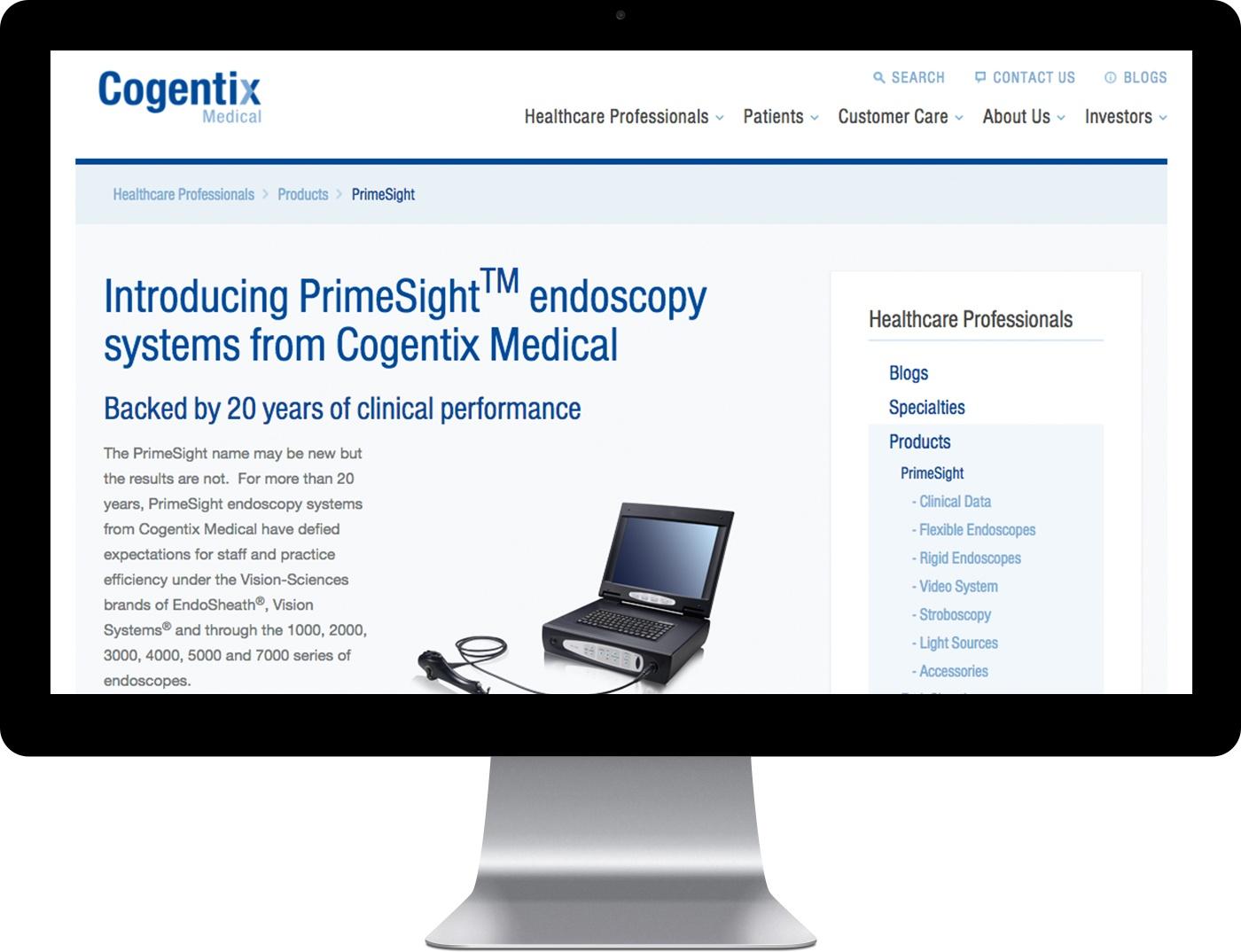 Cogentix Medical's website on desktop computer.
