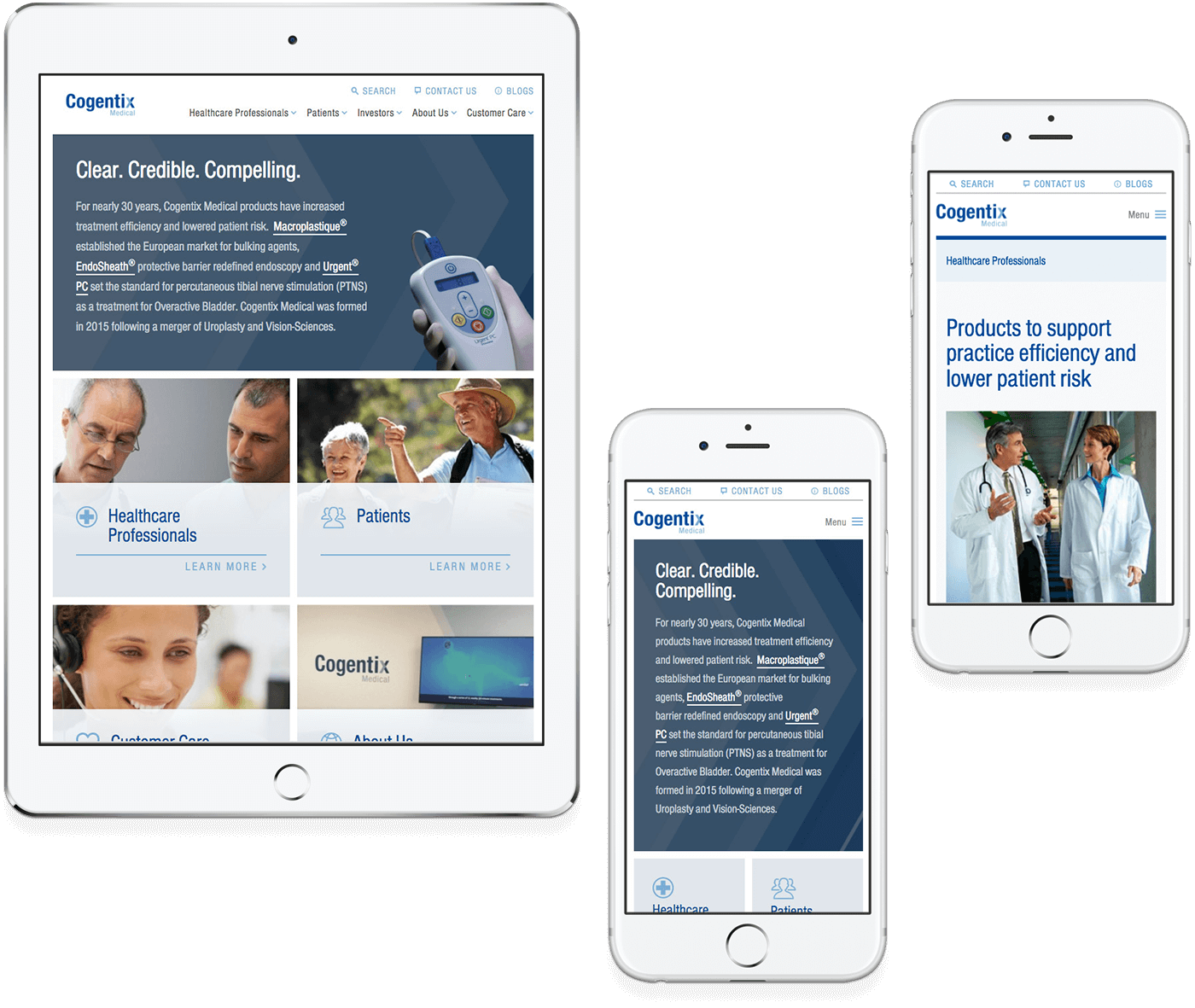 Cogentix responsive website design example on a tablet and two mobile phones