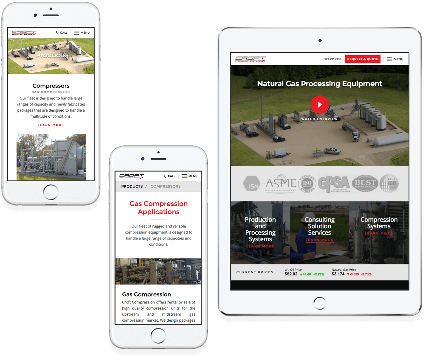 Croft Systems responsive website design example on two phones and a tablet