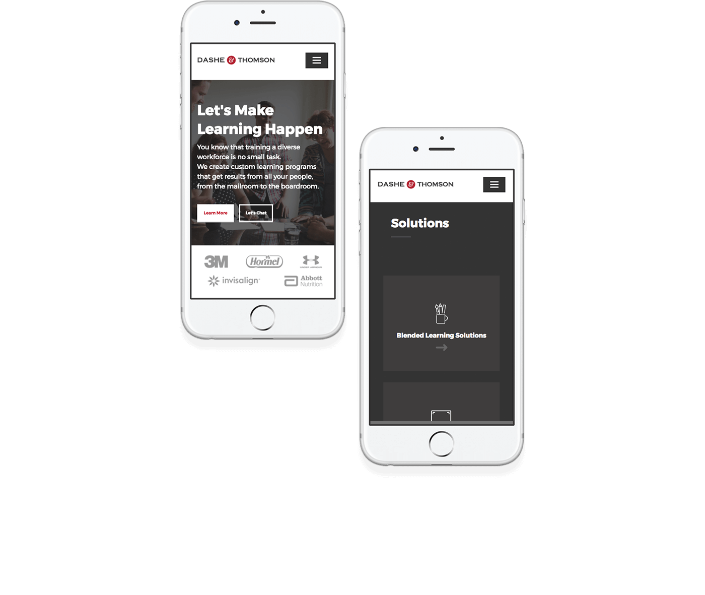 Dashe and Thomson's custom responsive website design on two phones