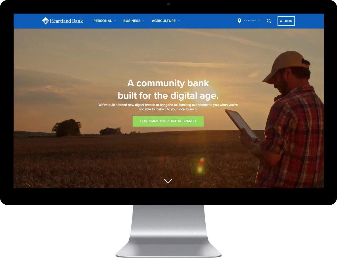 Heartland Bank website on a desktop computer