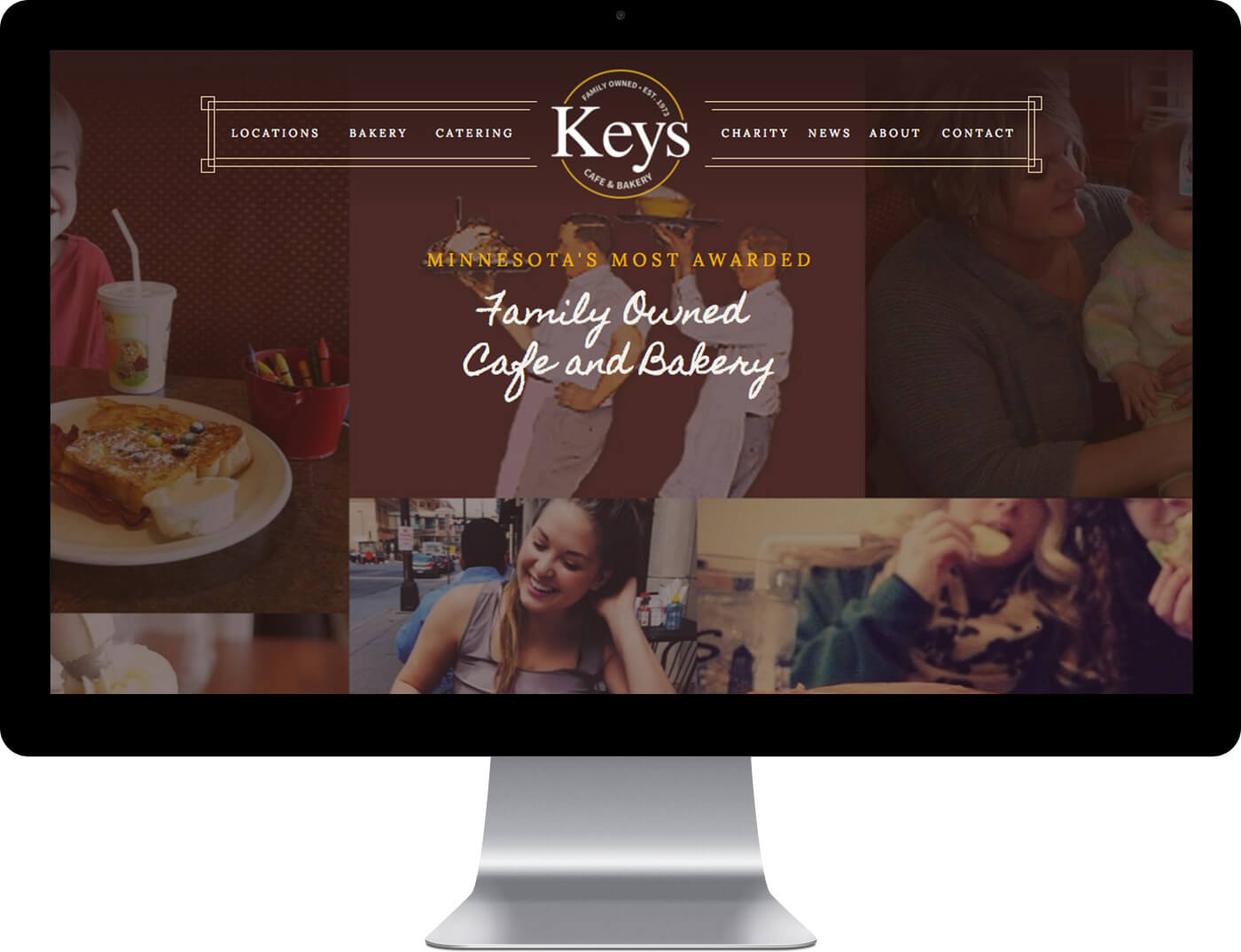 Keys Cafe website design on desktop monitor