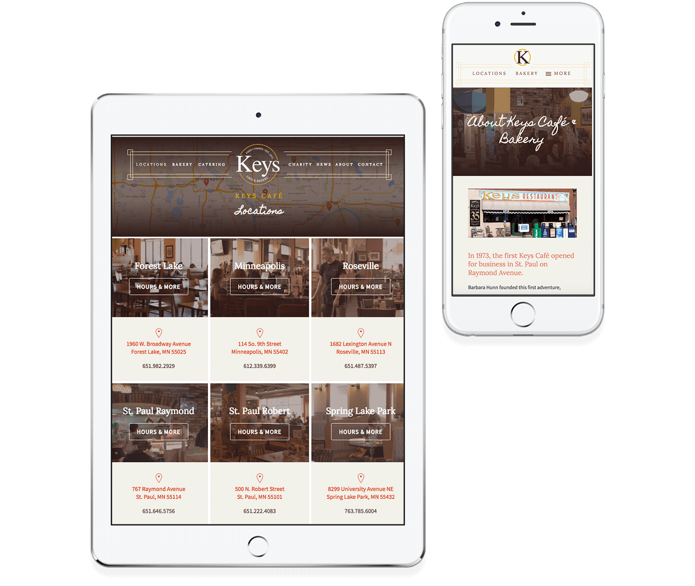 Keys Cafe responsive website design example on a tablet and mobile phone