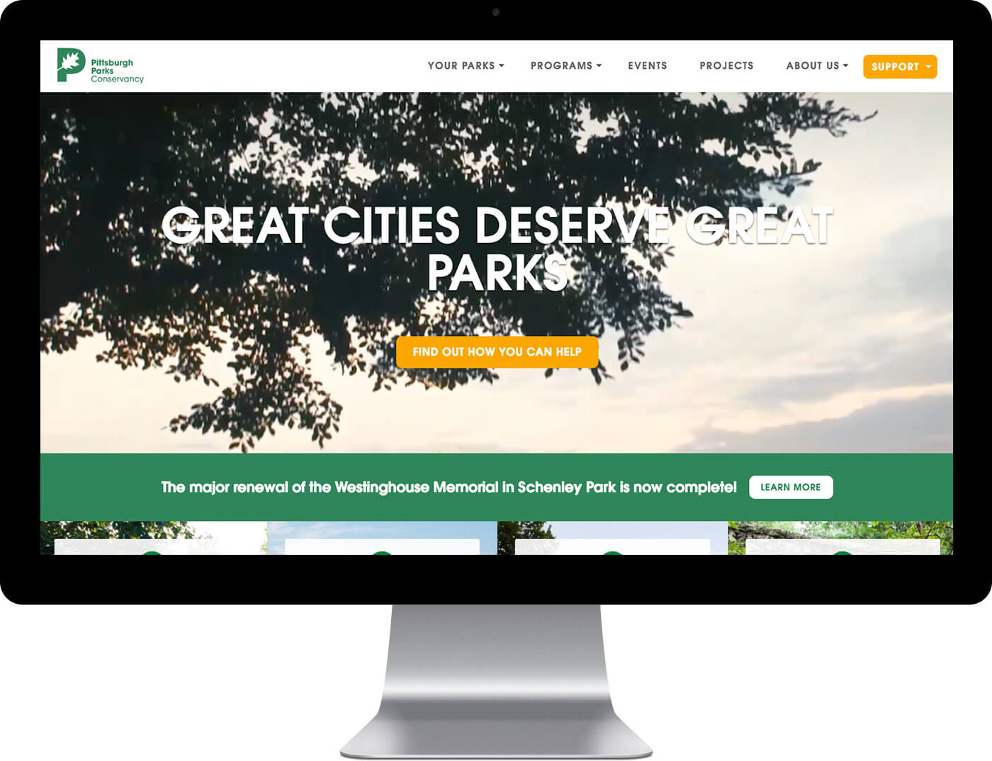 Pittsburgh Parks Custom Home page design on a desktop monitor