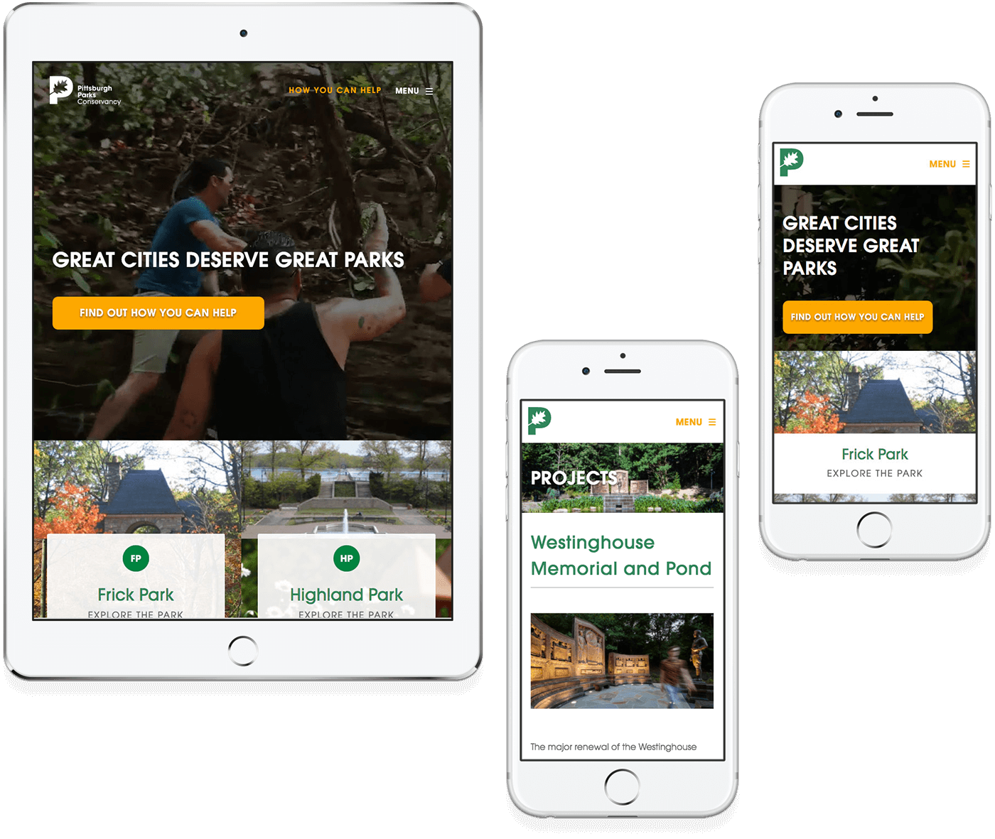 Pittsburgh Parks responsive design example on a tablet and two mobile phones