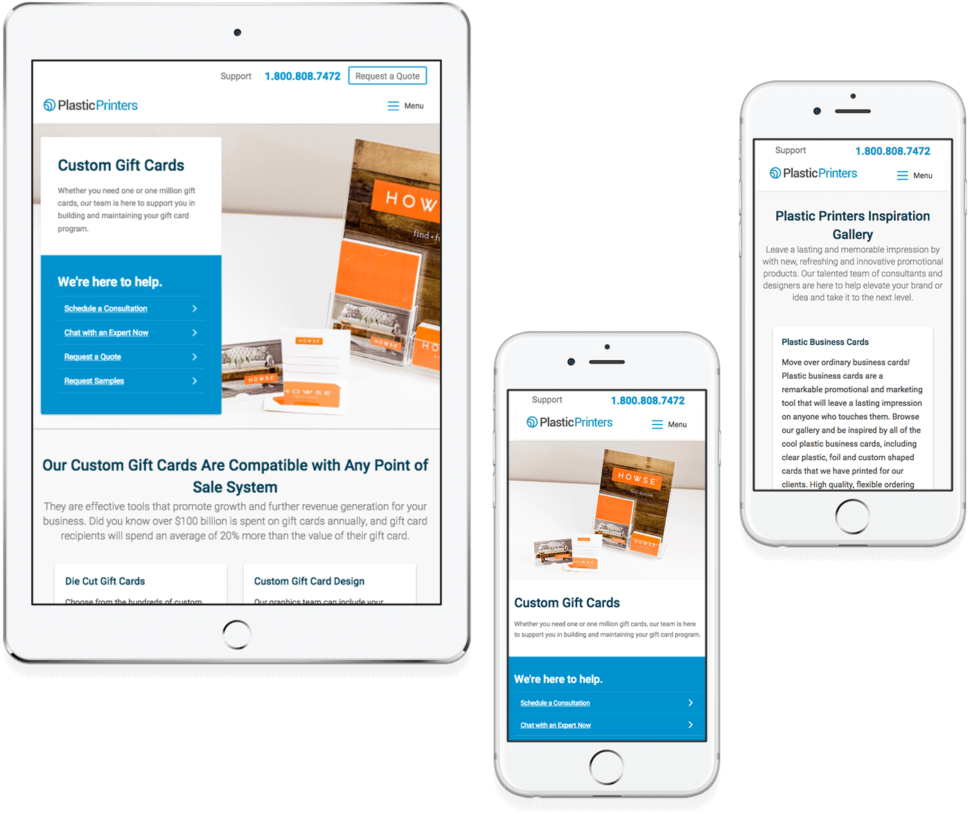 Plastic Printers' responsive redesigned website on a tablet and two mobile phones