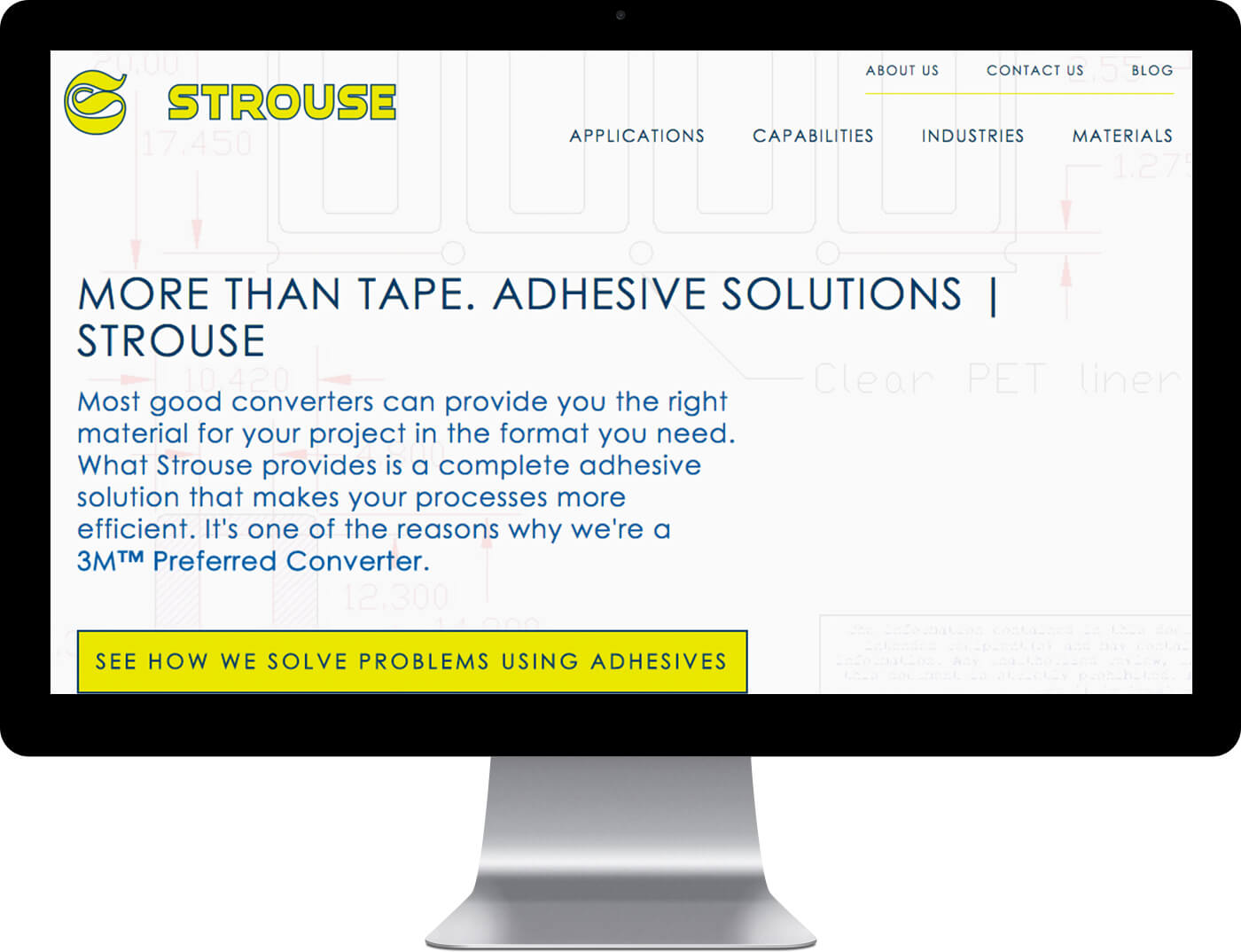 Strouse home page design on a desktop monitor
