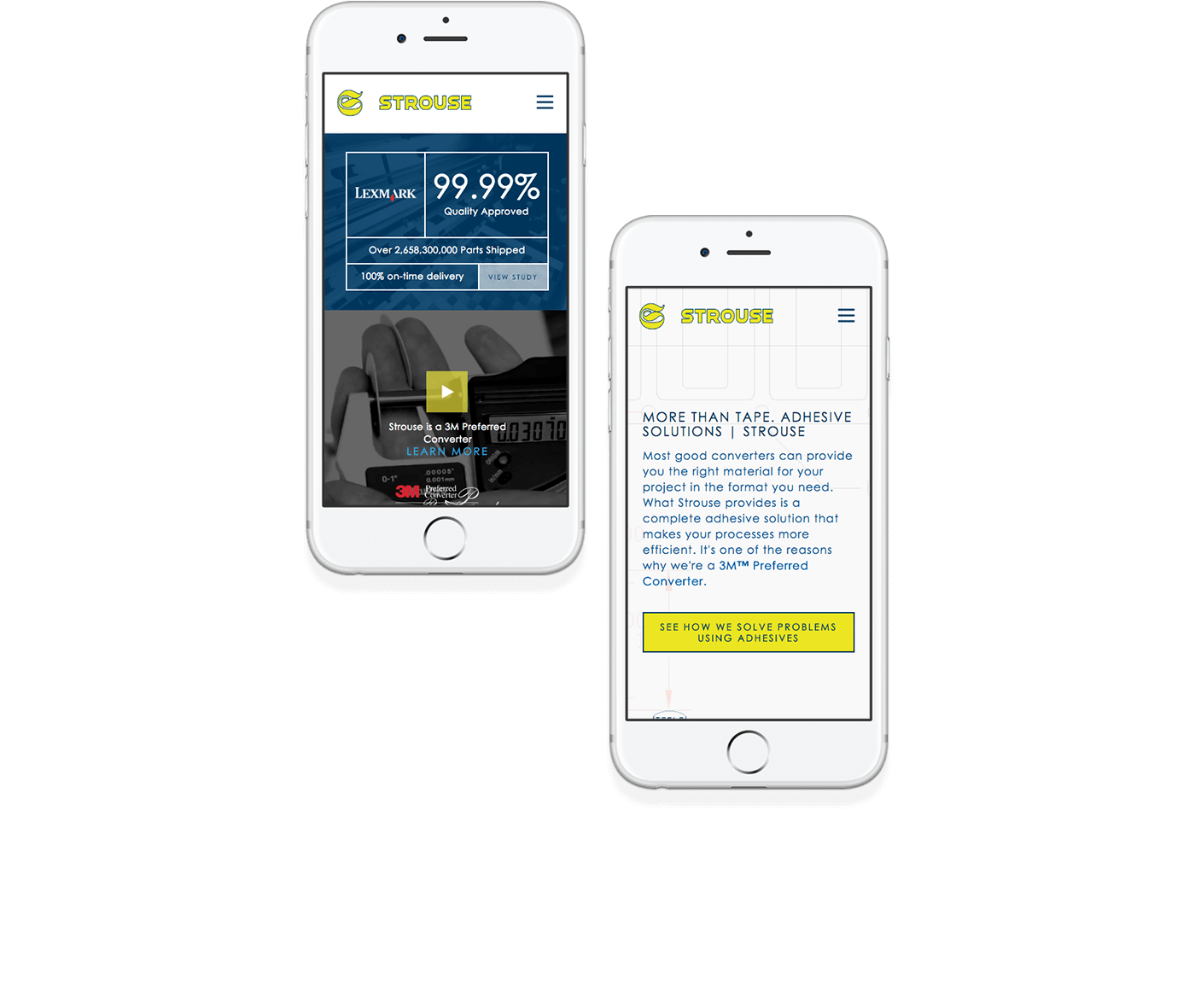 Strouse responsive website design example on two mobile phones