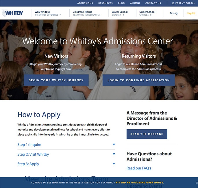Whitby admissions page screenshot