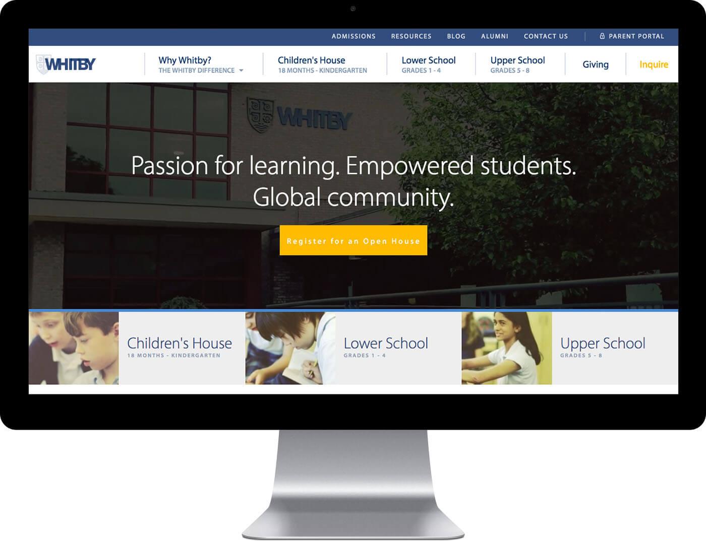 Custom school website design project for Whitby School