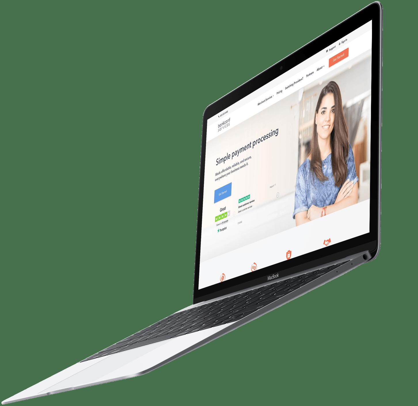 Screenshot of Bank Card Services website on a laptop
