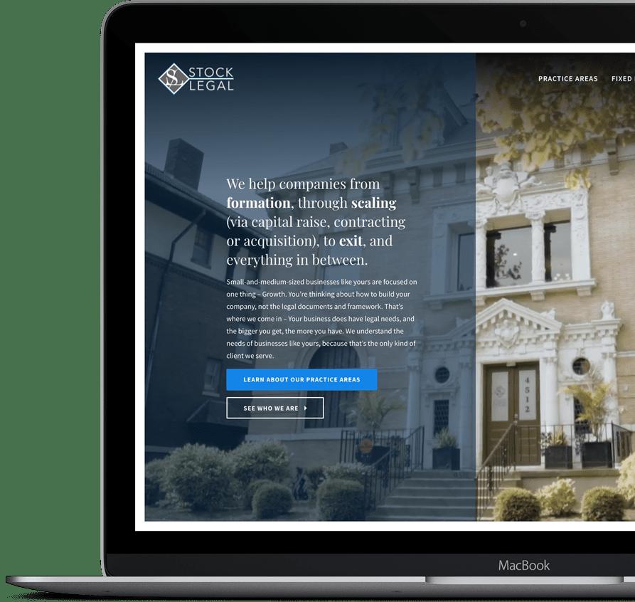 A Screenshot of Stock Legal's website. A custom website built on the HubSpot CMS platform.