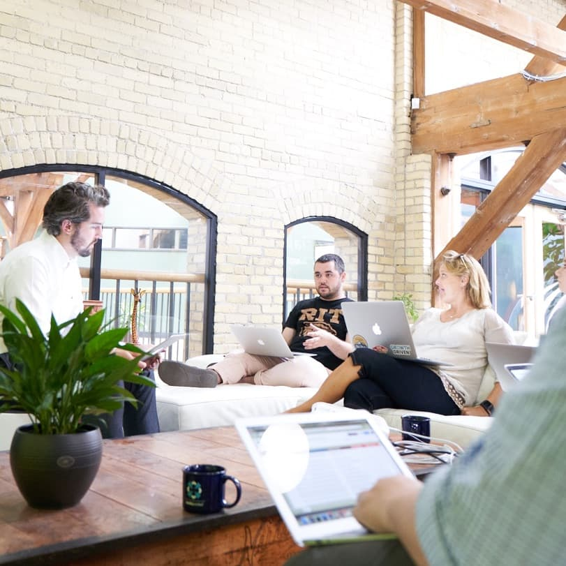 Several members of Media Junction's inbound marketing team during an internal strategy session.