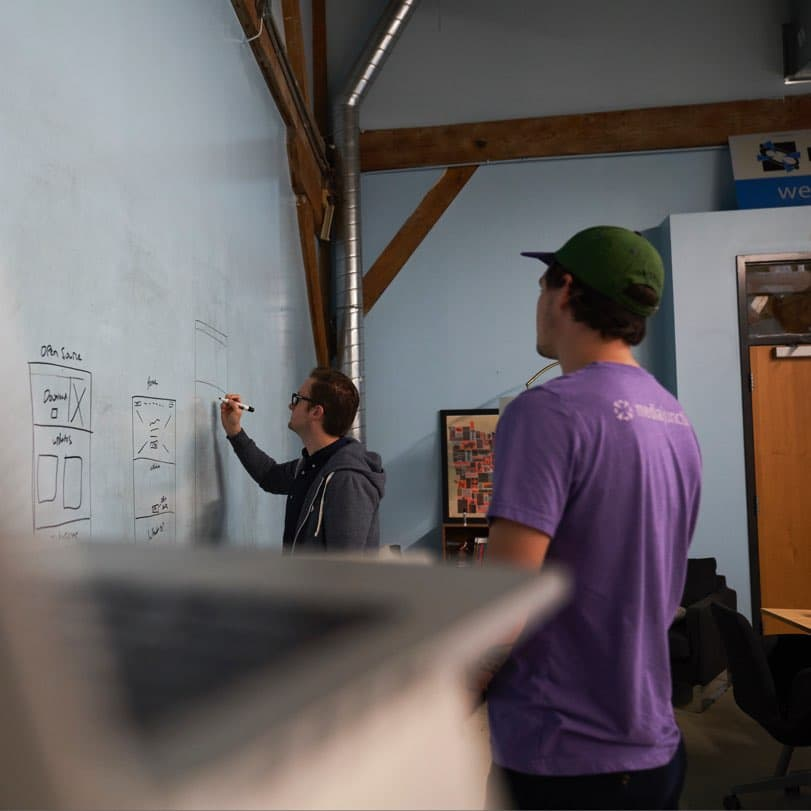 Website Strategy Session—The Media Junction design team wireframing website concepts on an Idea Paint wall.