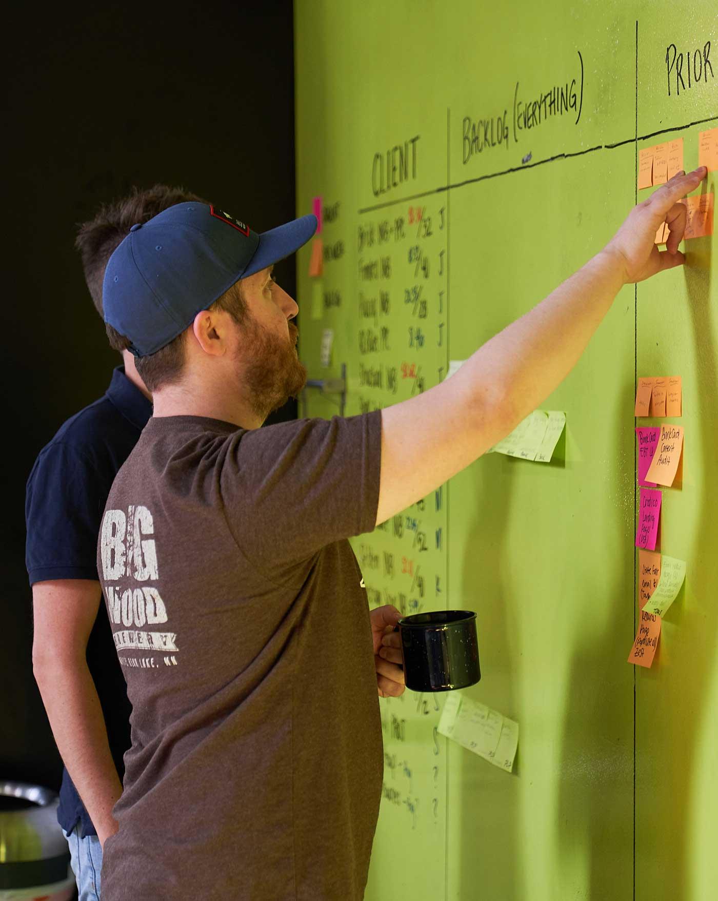 Paul organizing inbound marketing tasks
