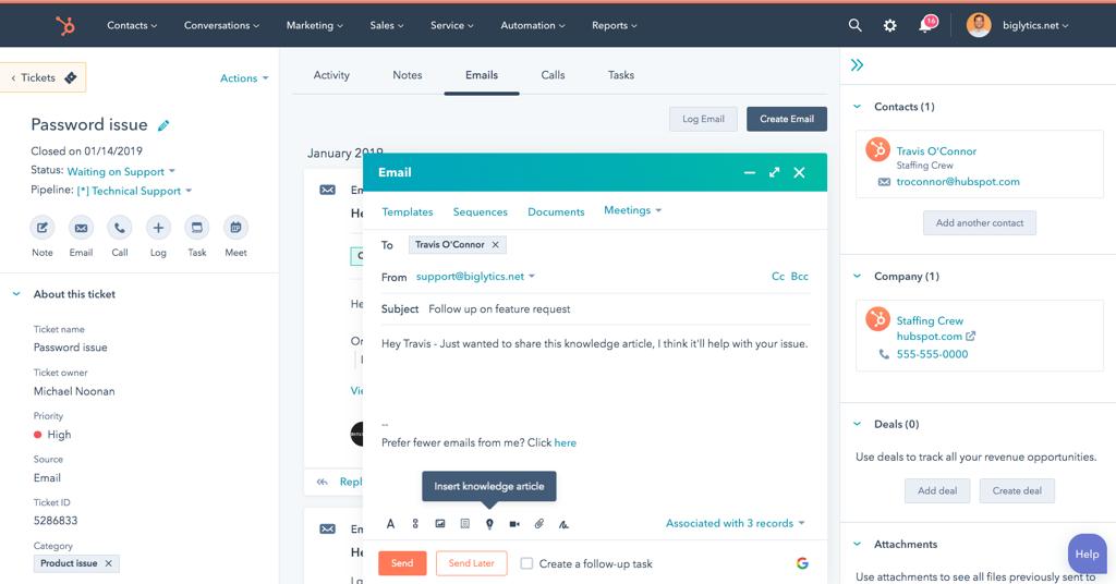 Screenshot of HubSpot's Ticket Management System